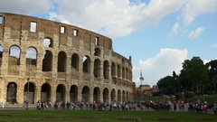 Most popular rome city colosseum crowded square panorama 4k italy Stock Footage