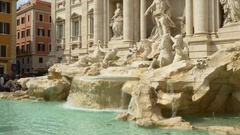 Summer sun light day time rome famous trevi fountain panorama 4k italy Stock Footage