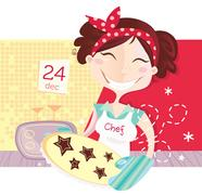 New in Shop : Kitchen girl illustration with Cookies Stock Illustration