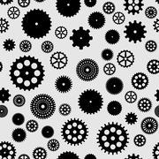 Abstract vector black flat gears seamless pattern Stock Illustration