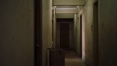 Old dark creepy apartment building,long hallway, gimbal tracking shot Stock Footage