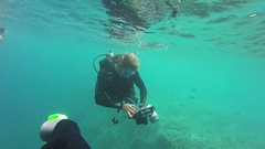 Great Barrier Reef, Photographer Shooting Under Water Stock Footage