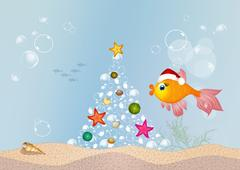 Red fish celebrate Christmas Piirros