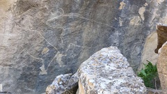 Historical petrographs. Carvings dating back 10 000 BC in Gobustan,Azerbaijan. Stock Footage