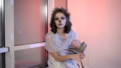 Close up of a young girl with creative scary halloween make. in appearance dead Stock Footage