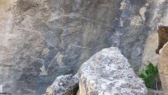 Historical petrographs. Carvings dating back 10 000 BC in Gobustan,Azerbaijan. Stock Footage