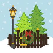 Christmas tree and street light Stock Illustration