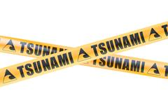 Tsunami Caution Barrier Tapes, 3D rendering Piirros
