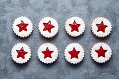 Linzer star cookies with jam traditional Christmas sweet dessert food Stock Photos