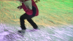 Concept Ice and Skate, Winter Healthy Lifstyle. Many Skates Pass by Close-up. Stock Footage