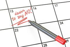Learn to say no! Date on calendar concept, 3D rendering Stock Illustration