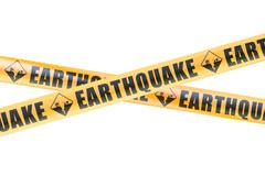 Earthquake Caution Barrier Tapes, 3D rendering Piirros