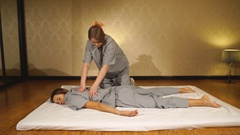 Thai massage is a type of massage in Thai style that involves Stock Footage