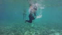 Great Barrier Reef, People Snorkeling Under Water Stock Footage