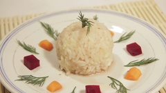 Traditional food of rice with fillings. Stock Footage