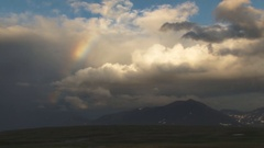 Rainbow over Tundra and Mountain Stock Footage