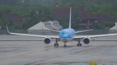 Airplane Boeing 767 before departure Stock Footage