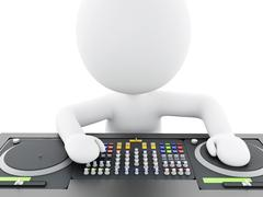 3d White people DJ with mixer. Stock Illustration