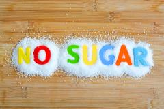 No sugar text from magnetic letters concept Stock Photos