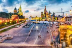 View of Red Square at dusk, Moscow. Tilt-shift effect applied Stock Photos