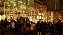 People at Christmas market at night in Berlin Stock Footage