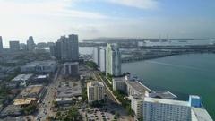Aerial Miami Beach bayfront condominiums Stock Footage