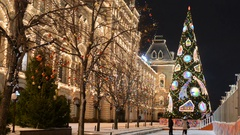 Night red square in winter Stock Footage