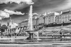 Scenic view of the Grand Cascade,  Peterhof Palace, Russia Stock Photos
