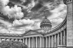 Facade and colonnade of Kazan Cathedral in St. Petersburg, Russia Stock Photos