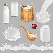 Milk. Bottle, glass, spoon, bucket. Drops seamless pattern. Natural dairy p.. Stock Illustration