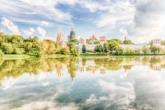 Defocused background with view of the Novodevichy Convent, Moscow, Russia Stock Photos