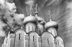 Orthodox church inside Novodevichy convent, iconic landmark in Moscow, Russia Stock Photos