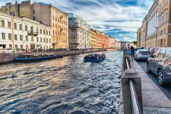 Scenic view over Moyka River embankment, St. Petersburg, Russia Stock Photos