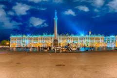 Alexander Column and Winter Palace in St. Petersburg, Russia Stock Photos