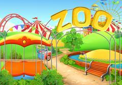 Zoo, vector background. Amusement park. Children playground Stock Illustration