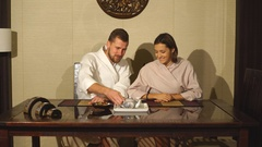 The couple at the tea ceremony Stock Footage