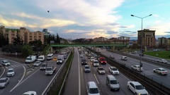 Dense traffic in-city highway by sunset from above at Bostanci Region Stock Footage