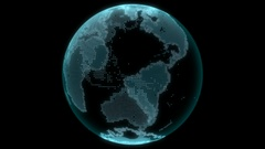 Electronic globe with dedicated continents Stock Footage