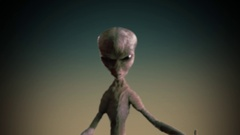 Grey alien 3D animation Stock Footage