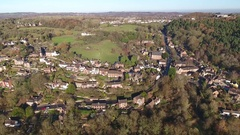 Panoramic aerial view of Iron Bridge, Shropshire, UK. Stock Footage