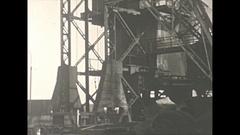 Vintage 16mm film, 1940 Illinois, coal mine, tipple tilt up Stock Footage