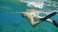 Girl Snorkeling Indonesia Reef Underwater Slowmotion Stock Footage
