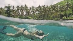 Snorkeling Girl Reef Nusa Penida Colorful Tropic Bay Under Water Slowm Stock Footage