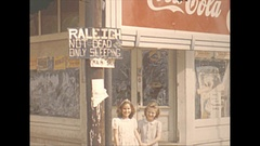 Vintage 16mm film, 1944 Illinois, Raleigh Ill town with a humouors sign Stock Footage