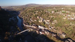Aerial view of Iron Bridge, Shropshire, UK. Stock Footage