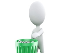 3d White people recycle trash can. Stock Footage