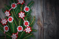 Branch spruce decorated with Christmas lights Stock Photos