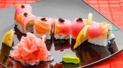 Sushi, Japanese cuisine with fresh seafood Stock Photos