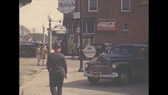 Vintage 16mm film, 1944 Illinois, Eldorado Ill town b-roll. Stock Footage