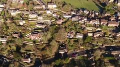 Aerial view of Ironbridge village, UK. Stock Footage